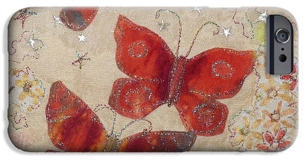 Fauna Tapestries - Textiles iPhone Cases - Red Butterflies iPhone Case by Hazel Millington