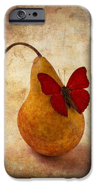 Pears iPhone Cases - Red Butterfly On Pear iPhone Case by Garry Gay