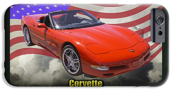 Vehicles iPhone Cases - Red C5 Corvette convertible Muscle Car iPhone Case by Keith Webber Jr