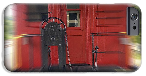 Caboose Photographs iPhone Cases - Red Caboose iPhone Case by Edward Fielding
