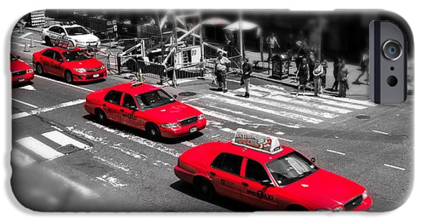 Colorkey iPhone Cases - Red Cabs on Time Square iPhone Case by Hannes Cmarits