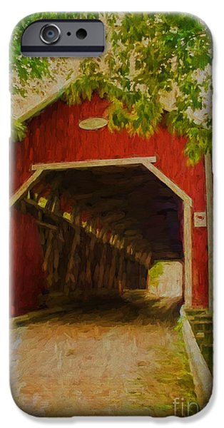 Covered Bridge Mixed Media iPhone Cases - Red Canadian Bridge iPhone Case by Deborah Benoit