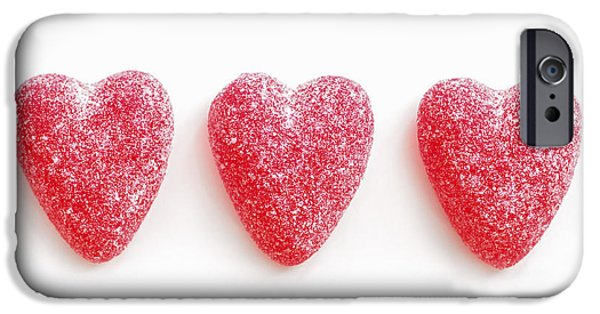 Concept Photographs iPhone Cases - Red candy hearts iPhone Case by Elena Elisseeva