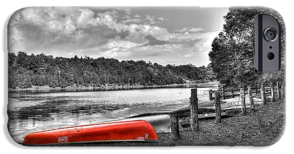 Red Canoe iPhone Cases - Red Canoe iPhone Case by Todd Hostetter