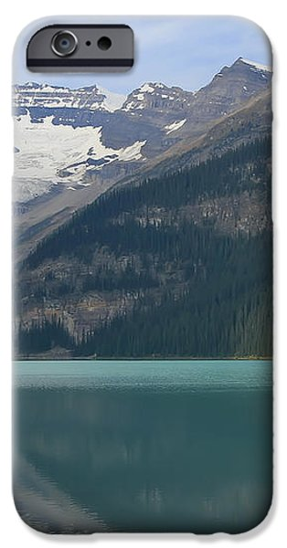 Red Canoes on Lake Louise iPhone Case by Teresa Zieba