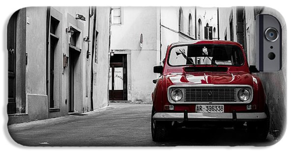 Recently Sold -  - Red Wine iPhone Cases - Red Car in Italy iPhone Case by BRD Photography