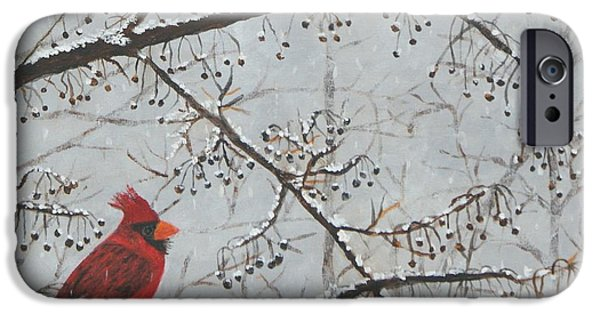 Berry iPhone Cases - Red Cardinal In Snow iPhone Case by William Ohanlan