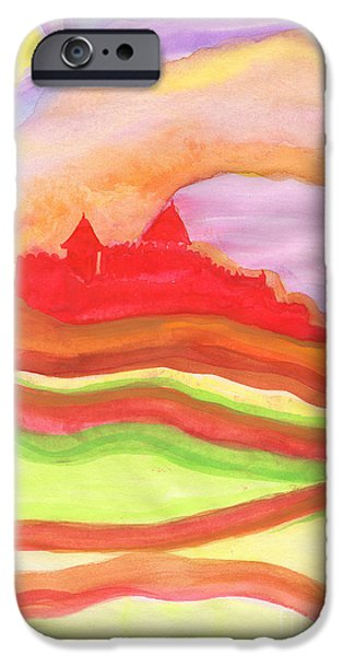 Archetype Paintings iPhone Cases - Red Castle iPhone Case by First Star Art