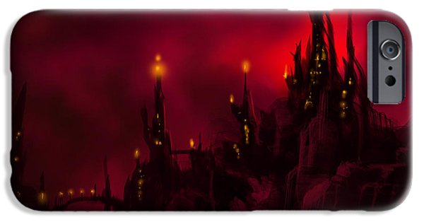 Thunder Paintings iPhone Cases - Red Castle iPhone Case by James Christopher Hill