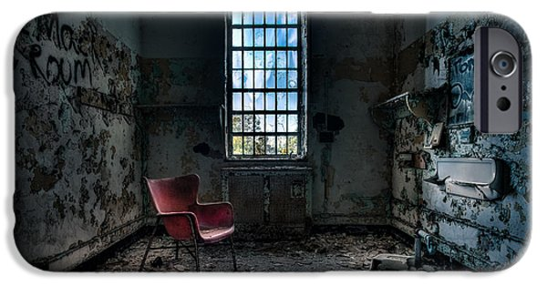 Psychiatric iPhone Cases - Red Chair - Art Deco Decay - Gary Heller iPhone Case by Gary Heller