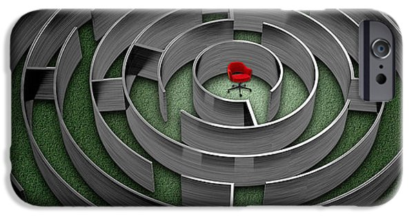 Strategy iPhone Cases - Red Chair In Middle Of Maze iPhone Case by Panoramic Images