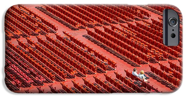 Open Air Theater iPhone Cases - Red Chairs iPhone Case by Dobromir Dobrinov