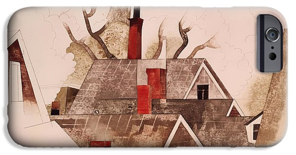 Conceptual Drawings iPhone Cases - Red Chimneys iPhone Case by Charles Demuth