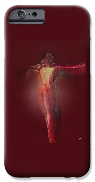 Abstract Digital Art iPhone Cases -  Crucified By Quim Abella iPhone Case by Joaquin Abella