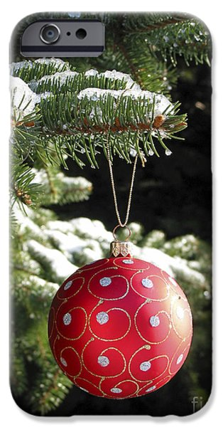 Snowy iPhone Cases - Red Christmas ball on fir tree iPhone Case by Elena Elisseeva