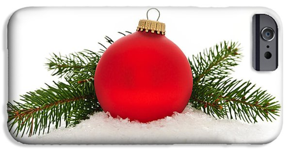 Festivities iPhone Cases - Red Christmas bauble iPhone Case by Elena Elisseeva