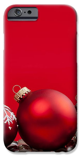 Red Christmas baubles and decorations iPhone Case by Elena Elisseeva