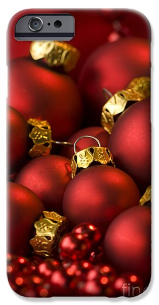 Red Christmas Baubles iPhone Case by Anne Gilbert