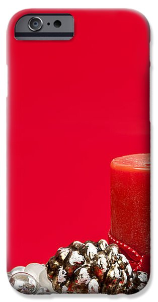Red Christmas candles iPhone Case by Elena Elisseeva