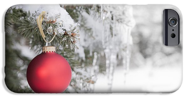 Snowy iPhone Cases - Red Christmas ornament on icy tree iPhone Case by Elena Elisseeva