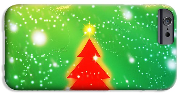 Backdrop iPhone Cases - Red Christmas Tree iPhone Case by Atiketta Sangasaeng