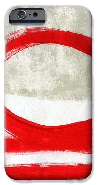 Texture iPhone Cases - Red Circle 4- abstract painting iPhone Case by Linda Woods