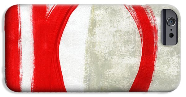 Texture Mixed Media iPhone Cases - Red Circle 5- abstract painting iPhone Case by Linda Woods
