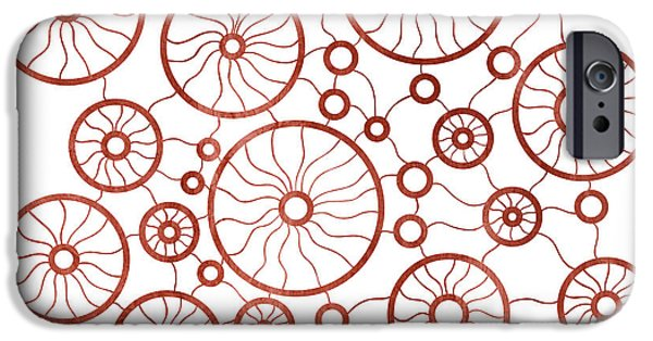 Creative Drawings iPhone Cases - Red Circles iPhone Case by Frank Tschakert