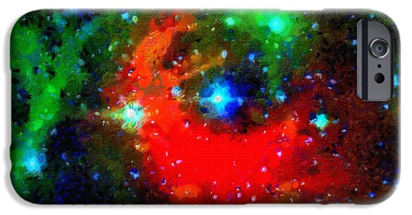 Outer Space Paintings iPhone Cases - Red cloud in a green outer space iPhone Case by Magomed Magomedagaev