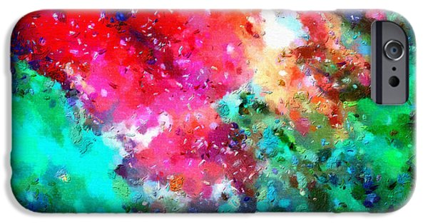Outer Space Paintings iPhone Cases - Red cloud in green iPhone Case by Magomed Magomedagaev