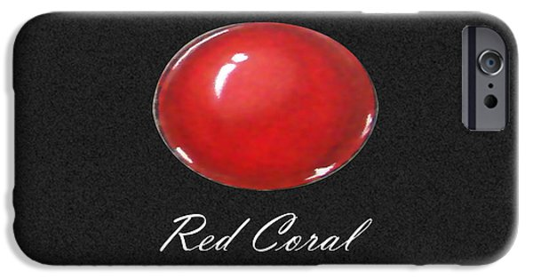 Food And Beverage Jewelry iPhone Cases - Red Coral Cabochon black iPhone Case by Marie Esther NC
