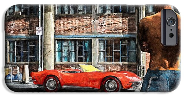 Transportation Mixed Media iPhone Cases - Red Corvette iPhone Case by Bob Orsillo