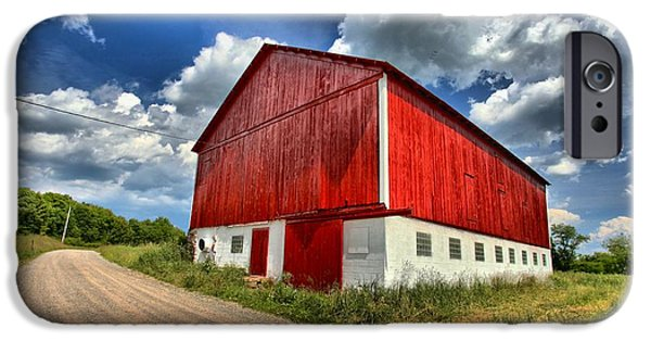 Covered Bridge iPhone Cases - Red Country Barn iPhone Case by Adam Jewell
