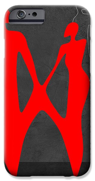 Love Making Paintings iPhone Cases - Red Couple 2 iPhone Case by Naxart Studio