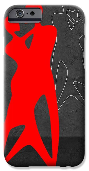 Love Making Paintings iPhone Cases - Red Couple Dance iPhone Case by Naxart Studio