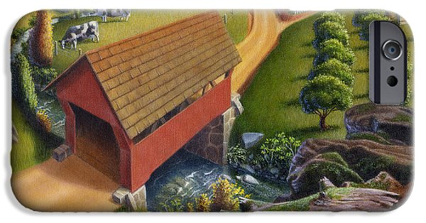 Covered Bridge iPhone Cases - Red Covered Bridge Country Farm Landscape - Square Format iPhone Case by Walt Curlee