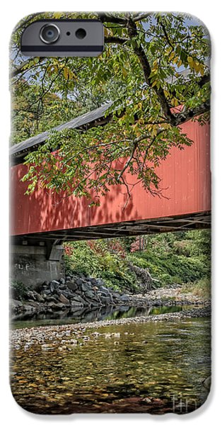 Covered Bridge iPhone Cases - Red Covered Bridge iPhone Case by Edward Fielding