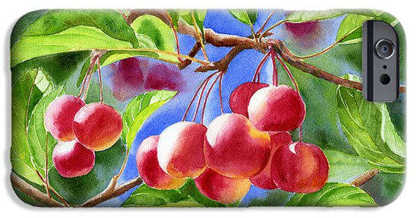 Apple Trees iPhone Cases - Red Crab Apples with Background iPhone Case by Sharon Freeman
