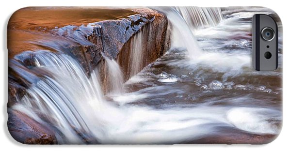 Creek Pyrography iPhone Cases - Red Creek iPhone Case by R Steven Diaz