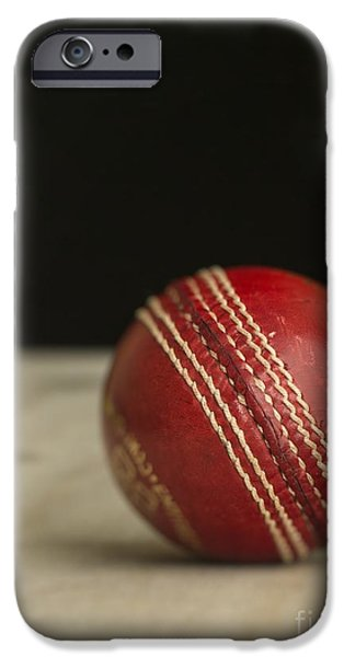 Cricket iPhone Cases - Red Cricket Ball iPhone Case by Edward Fielding