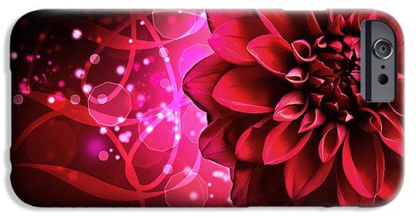 Flora Mixed Media iPhone Cases - Red Dahlia Elegance iPhone Case by Georgiana Romanovna