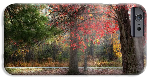 Fall In New England iPhone Cases - Red Dawn iPhone Case by Bill  Wakeley