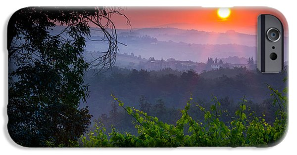 Tuscan Hills iPhone Cases - Red Dawn iPhone Case by Inge Johnsson