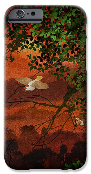 Red Dawn Sparrows iPhone Case by Bedros Awak