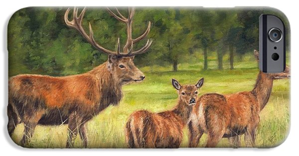 David iPhone Cases - Red Deer Family iPhone Case by David Stribbling