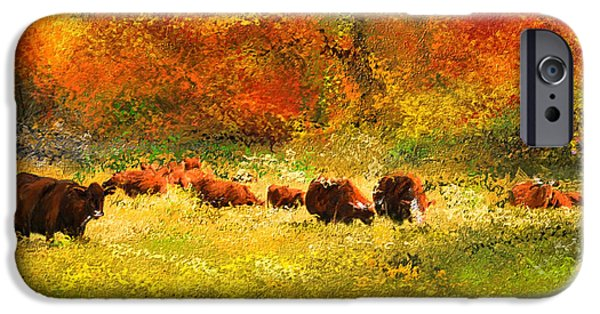 Watson iPhone Cases - Red Devon Cattle In Autumn -Cattle Grazing iPhone Case by Lourry Legarde