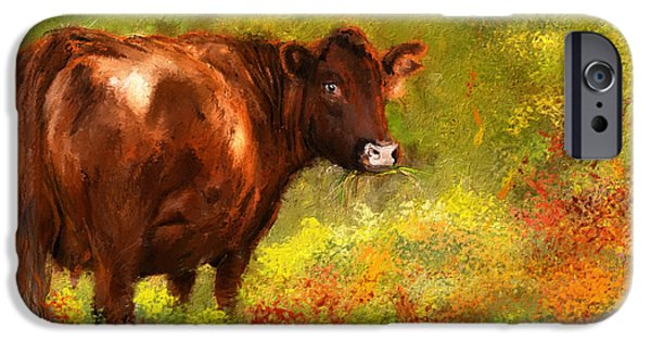 Autumn Scenes Paintings iPhone Cases - Red Devon Cattle - Red Devon Cattle in a Farm Scene- Cow Art iPhone Case by Lourry Legarde