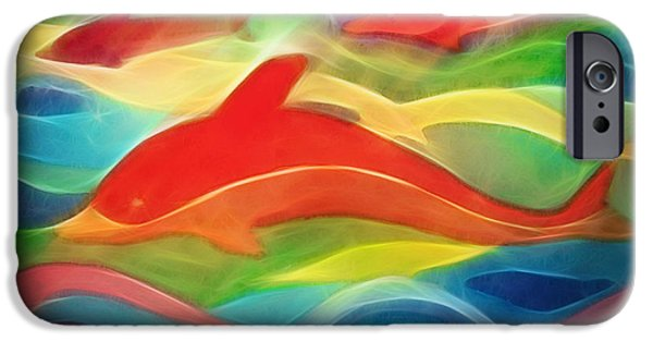 Dolphin iPhone Cases - Red Dolphin iPhone Case by Ann Croon
