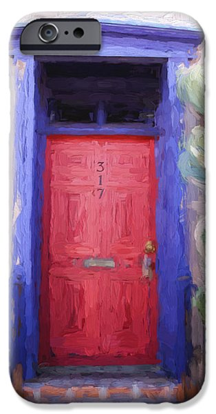 Vivid Mixed Media iPhone Cases - Red Door 317 Tucson Barrio Painterly Effect iPhone Case by Carol Leigh