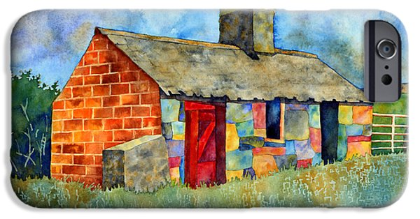 Village iPhone Cases - Red Door Cottage iPhone Case by Hailey E Herrera
